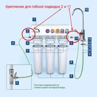 Комплект переходников фитингов для гибкой подводки колб фильтров Гейзер